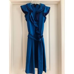 MARC Jacobs Silk Royal/Navy Ruffle Wrap Dress
